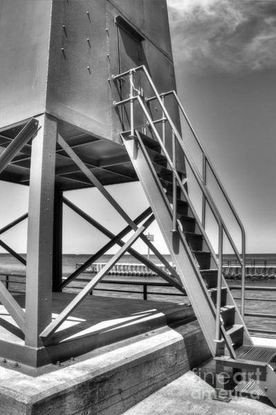 Charlevoix Photograph - Charlevoix Lighthouse In Black And White by Twenty Two North Photography