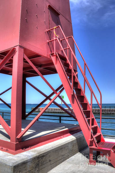 Charlevoix Photograph - Charlevoix Lighthouse Steps by Twenty Two North Photography