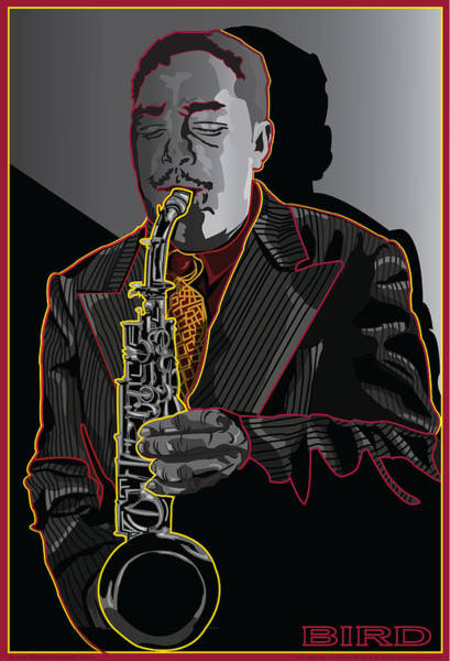 Wall Art - Digital Art - Charlie Parker Jazz  Saxophone Legend by Larry Butterworth