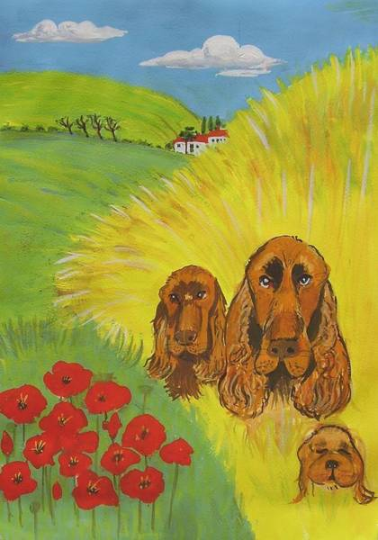 Field Spaniel Painting - Charlies Dogs by Molly Farr