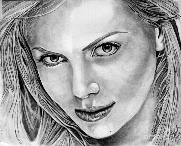 Drawing - Charlize Theron by Bill Richards