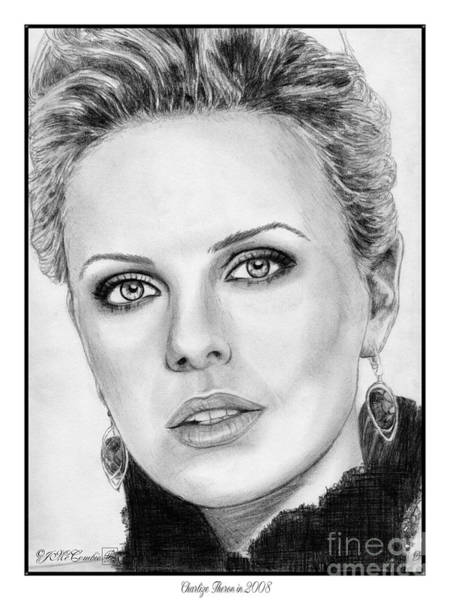 Wall Art - Drawing - Charlize Theron In 2008 by J McCombie