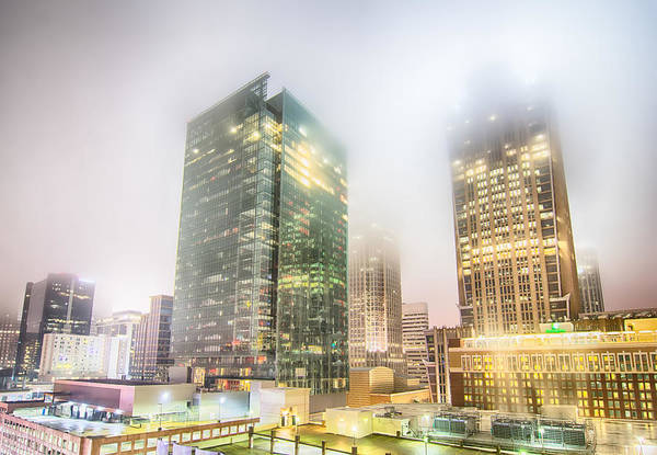 Photograph - Charlotte City Skyline Night Scene In Fog by Alex Grichenko