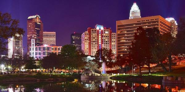 Wall Art - Photograph - Charlotte Night Panoramic  by Frozen in Time Fine Art Photography