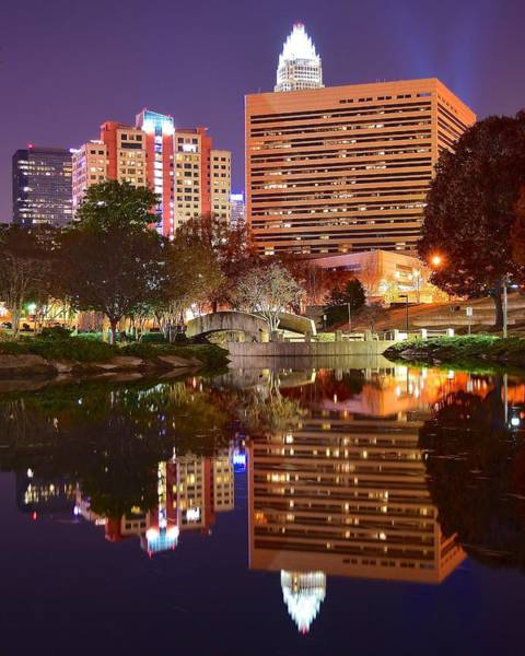 Wall Art - Photograph - Charlotte Night Reflection by Frozen in Time Fine Art Photography