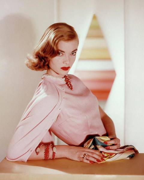 Make Up Photograph - Charlotte Payne Wearing Cartier Jewelry by Horst P Horst