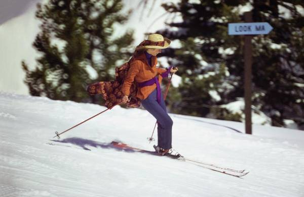Hobbies Photograph - Charlotte Rampling Skiing by Arnaud de Rosnay