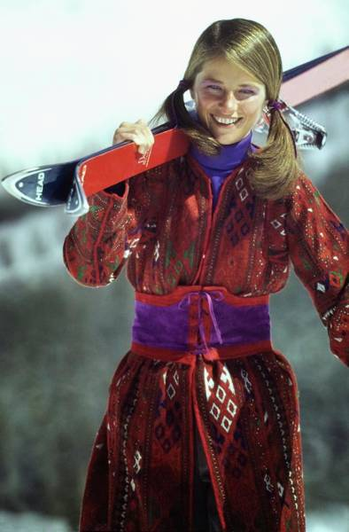 Outdoor Sports Photograph - Charlotte Rampling Wearing A Tapestry Coat by Arnaud de Rosnay
