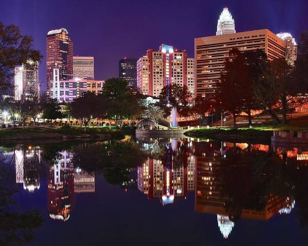 Charlotte Nc Wall Art - Photograph - Charlotte Reflecting by Frozen in Time Fine Art Photography