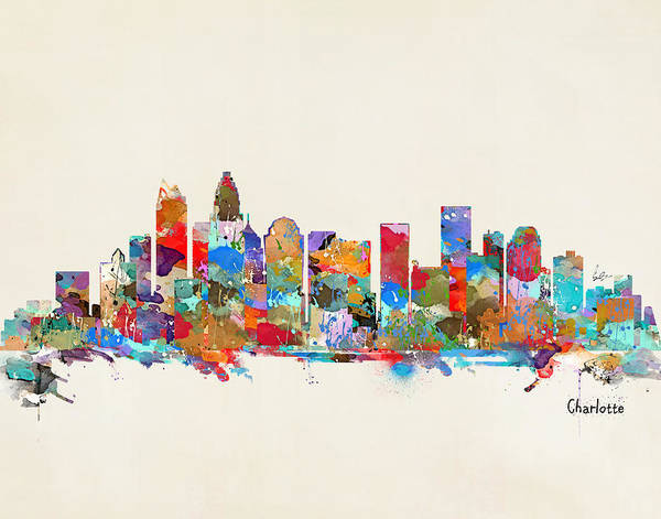 Charlotte Wall Art - Painting - Charlotte Skyline North Carolina by Bri Buckley