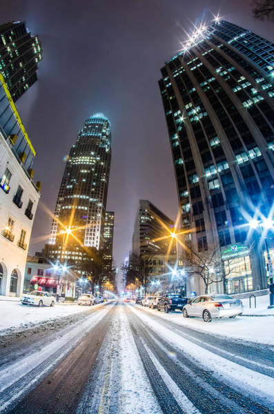 Photograph - Charlotte Tryon Street In Snow 2014 by Alex Grichenko