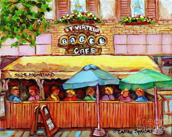 Painting - Charming French Cafe Scenes St Viateur Bagel Monkland Bistro Streets Montreal Paintings C Spandau by Carole Spandau