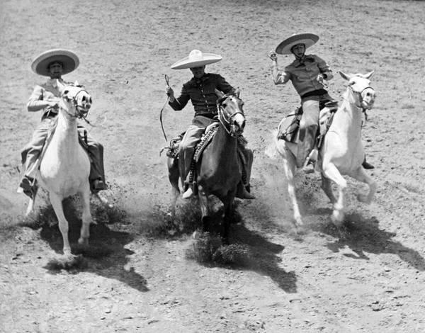 Photograph - Charros At Charreada by Underwood Archives