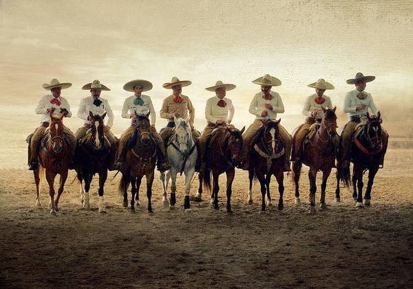 Domestic Animals Photograph - Charros Riding by Saul Landell / Mex