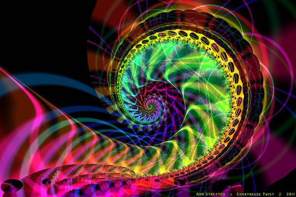 Digital Art - Chartreuse Twist  by Ann Stretton