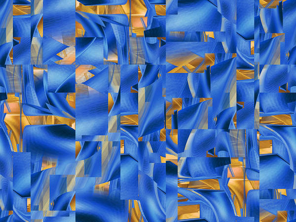 Digital Art - Chasing Blue And Gold by rd Erickson