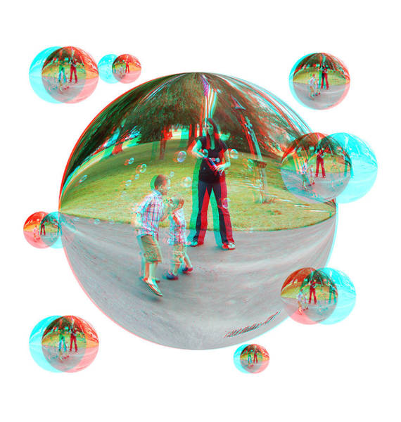 Anaglyph Photograph - Chasing Bubbles - Red/cyan Filtered 3d Glasses Required by Brian Wallace
