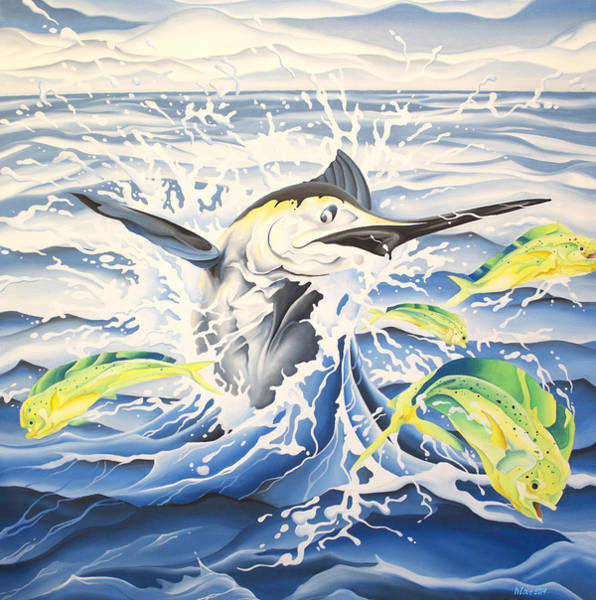 Painting - Chasing Mahi by William Love