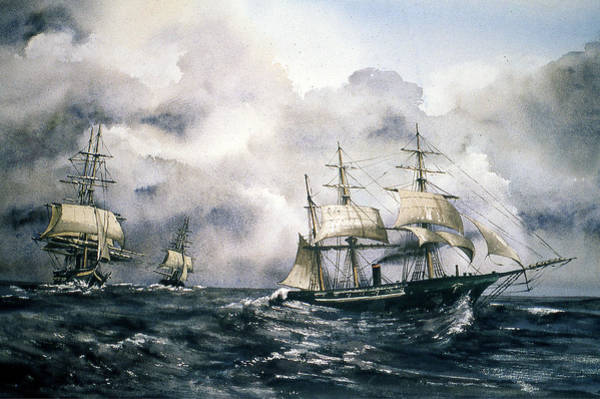 Painting - Chasing The Alabama  by Val Byrne