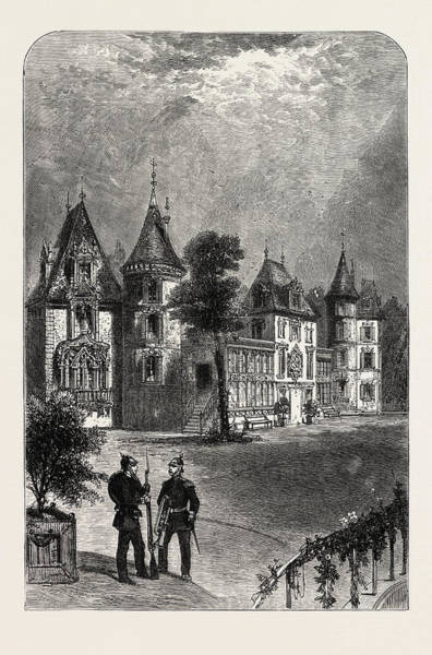 Chateau Drawing - Chateau Bellevue Meeting Place Of The Emperor And King by English School