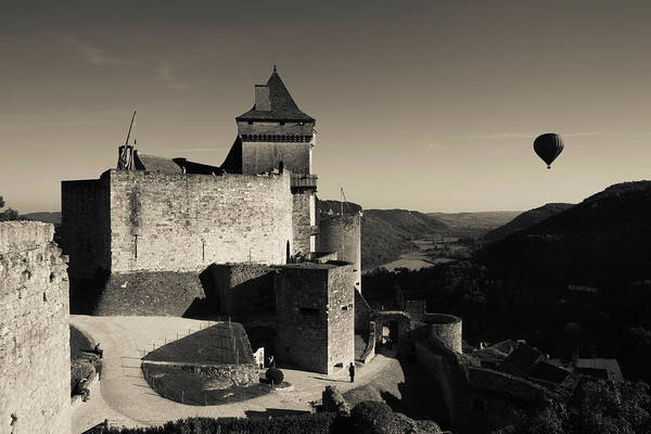 Flying Fortress Photograph - Chateau De Castelnaud With Hot Air by Panoramic Images