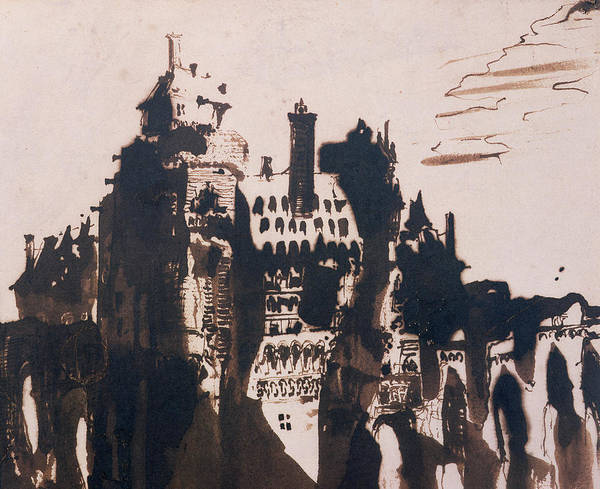 Pen And Ink Drawing Painting - Chateau Fortified By Two Bridges by Victor Hugo