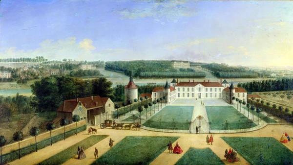 Castle Garden Photograph - Chateau Of Charles Guillaume Le Normant, Seigneur Detoilles Oil On Copper by Charles Laurent Grevenbroeck