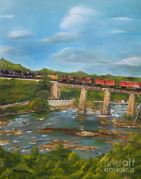 Painting - Chattahoochee Choo Choo -  Train On Trestle - Columbus Ga by Jan Dappen