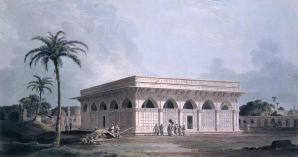 Palm Trees Drawing - Chaunsath Khamba, Nizamuddin, New Delhi by Thomas & William Daniell