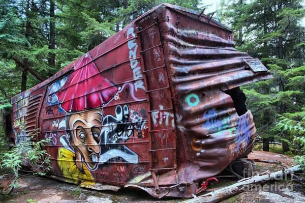 Train Derailment Photograph - Cheakamus Box Car Graffiti by Adam Jewell