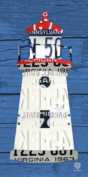 Lighthouse Wall Art - Mixed Media - Cheboygan Crib Lighthouse Michigan Vintage License Plate Art On Wood by Design Turnpike