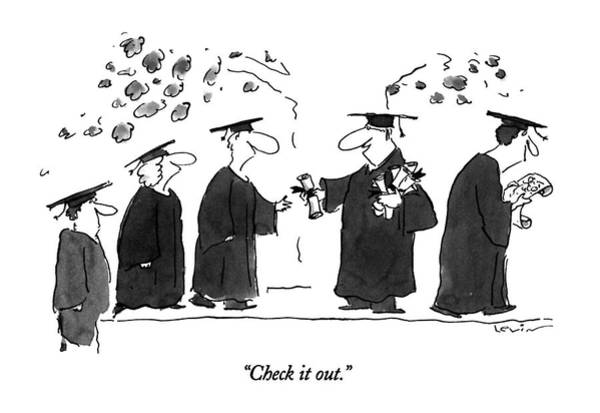 Graduation Drawing - Check It Out by Arnie Levin