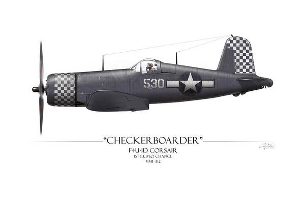 Corsair Painting - Checkerboarder F4u Corsair - White Background by Craig Tinder