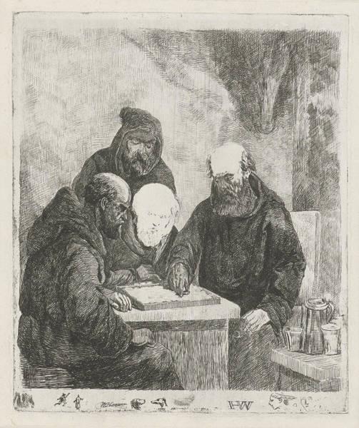 Checker Drawing - Checkers Playing Monks, David Van Der Kellen II by Artokoloro