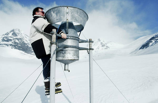 Gauge Photograph - Checking A Precipitation Gauge by David Hay Jones/science Photo Library