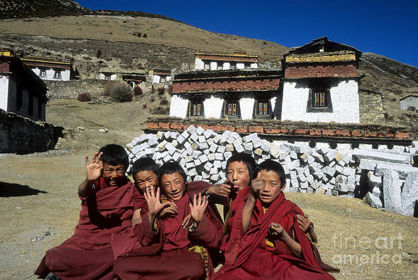 Photograph - Cheeky Young Tibetan Monks by James Brunker