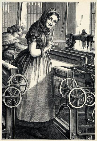 Wall Art - Drawing - Cheerful Mill-girl, Happy In  Her Work by Mary Evans Picture Library