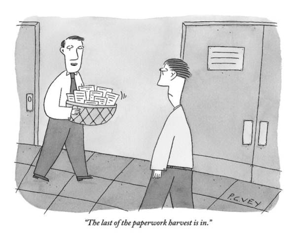 Hall Drawing - Cheerful Office Worker Holding A Basket Of Papers by Peter C. Vey