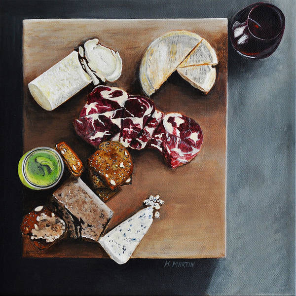 Food Still Life Painting - Cheese Please by Heidi Martin