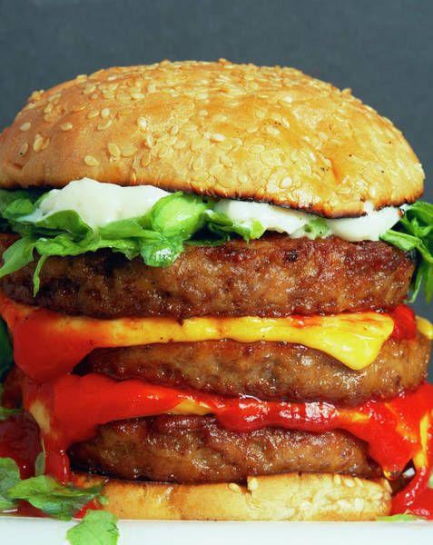 Triples Photograph - Cheeseburger by Martin Bond/science Photo Library