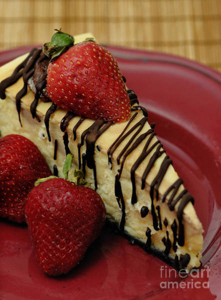 Cheese Cake Wall Art - Photograph - Cheesecake With Strawberries by Amy Cicconi
