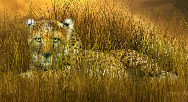 Mixed Media - Cheetah - In The Wild Grass by Carol Cavalaris