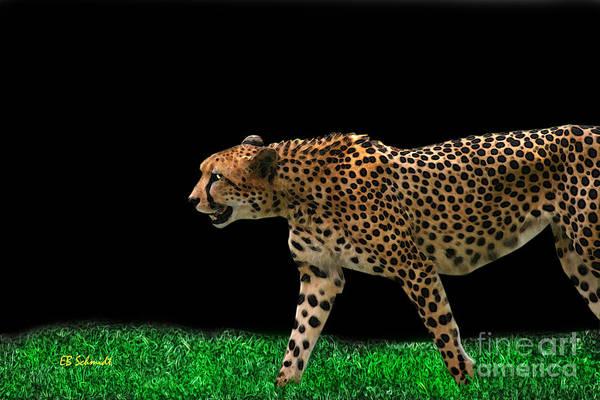 Digital Art - Cheetah On The Prowl by E B Schmidt