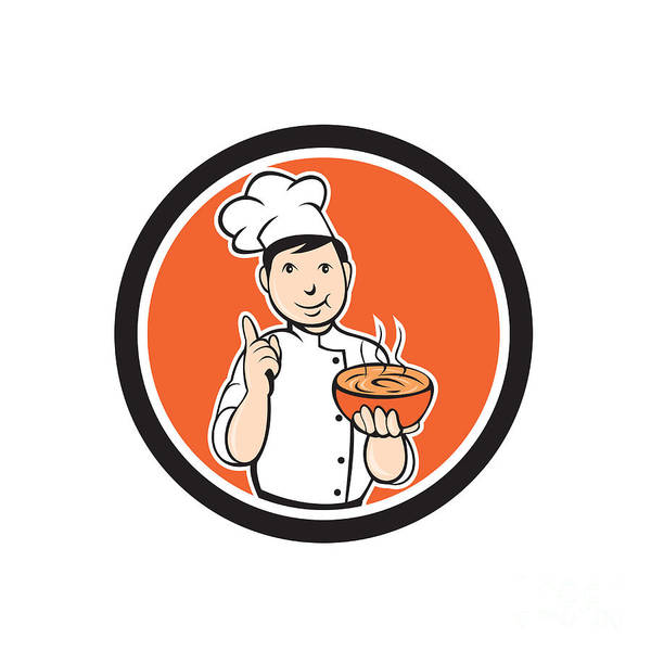 Serve Digital Art - Chef Cook Carrying Bowl Circle Cartoon by Aloysius Patrimonio