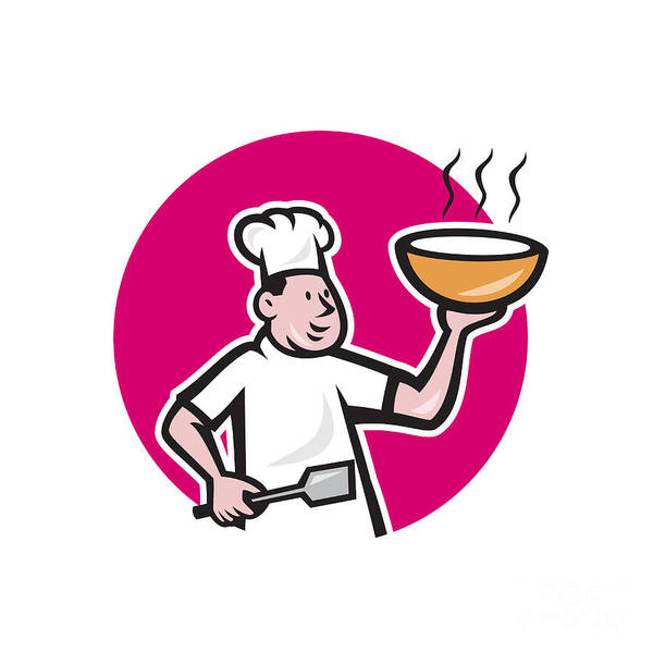 Serve Digital Art - Chef Cook Holding Bowl Oval Cartoon by Aloysius Patrimonio