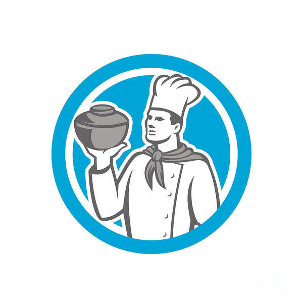 Serve Digital Art - Chef Cook Holding Up Pot Retro by Aloysius Patrimonio