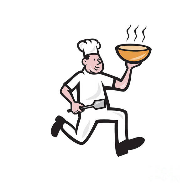Serve Digital Art - Chef Cook Running Holding Bowl Cartoon by Aloysius Patrimonio