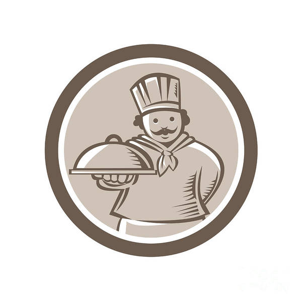 Serve Digital Art - Chef Cook Serving Food Platter Circle by Aloysius Patrimonio