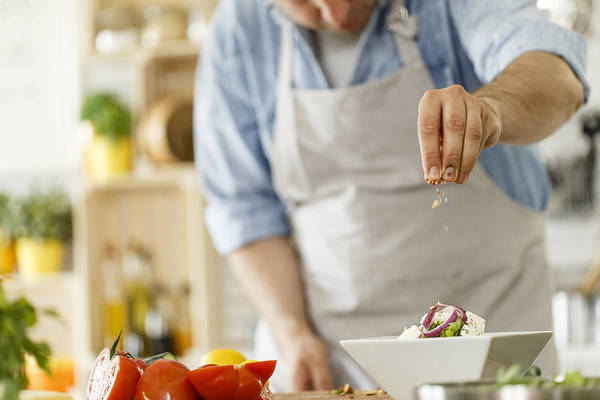 Chef Decorating A Plate With Healthy Salad Art Print by Fotostorm