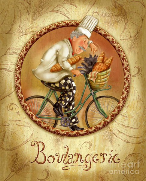 Mixed Media - Chefs On Bikes-boulangerie by Shari Warren